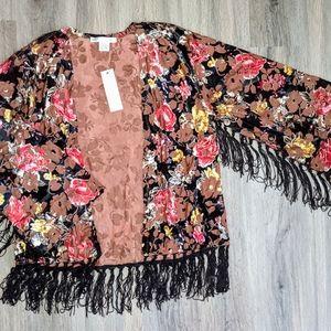 Sans Souci Floral Fringe Kimono Small NWT